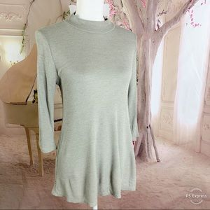 ModCloth Gray Thermal High Neck blouse